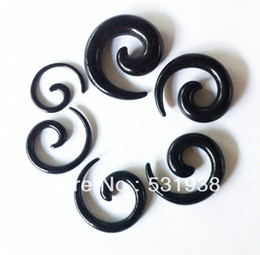 Wholesale Ear Taper Sets - Wholesale-free shipping acrylic plastic men's spiral black taper fashion body piercing ear hole expander 6pcs set