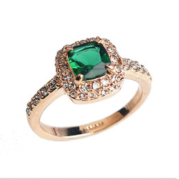 Wholesale Solitaire Emerald Rings - biger Green simulated gemstone wedding Ring,18k gold plated finger rings ,2014 women created Emerald jewelry