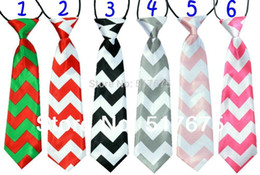 Wholesale Chevron Ties Boys Wholesale - New hotsale chevron zig zag necktie free shipping baby kids children ties neck tie ties Boys Girls tie 20pcs lot