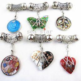 Wholesale Diy Frame Pendant - Fashion DIY Mixed Jewellery Pendant Scarf Accessories Zinc Alloy Frame Charm Shiny Glass SJ012