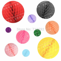 Wholesale Honeycomb Party 5cm - Wholesale-5cm Lot of 100 Wholesale Free Shipping Tissue Paper Honeycomb Mini Balls Hanging Decorations Party Wedding Home Event Decor