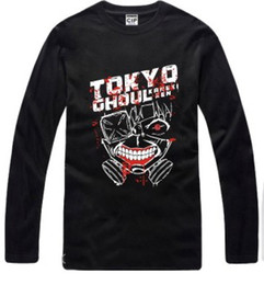 Wholesale Tokyo Ghoul Shirts - Free shipping new arrival Japanese anime Tokyo Ghoul Printed long-sleeve t-shirt anime Tee 100% cotton 6 color