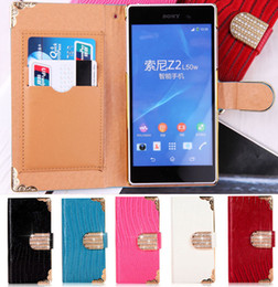 Wholesale Diamond Xperia - Luxury Bling Diamond Buckle Lizard PU Leather Flip Wallet Case Cover Pouch With Credit Card Slots For Sony Xperia Z2 D6503 L50W MOTO G
