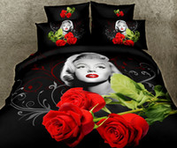 edredones marilyn monroe al por mayor-Juegos de cama de impresión reactiva 3D 100% algodón Marilyn Monroe Rosa roja Flor de cuatro piezas Edredón Funda nórdica Sábana Funda de almohada Cama en bolsa