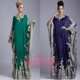 Wholesale Hot Long Evening Dresses - 2016 Hot Sale Cheap Mother of the Bride Dresses Chiffon Kaftan Dubai Arabian Dress Lace Long Sleeves Fitted Muslim 2015 Evening Gowns JQ3309