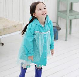 Wholesale Princess Raincoat - Frozen Fashion Baby Girls Clothes Snow Queen Elsa Blue Gauze Coat Princess Raincoat Jacket