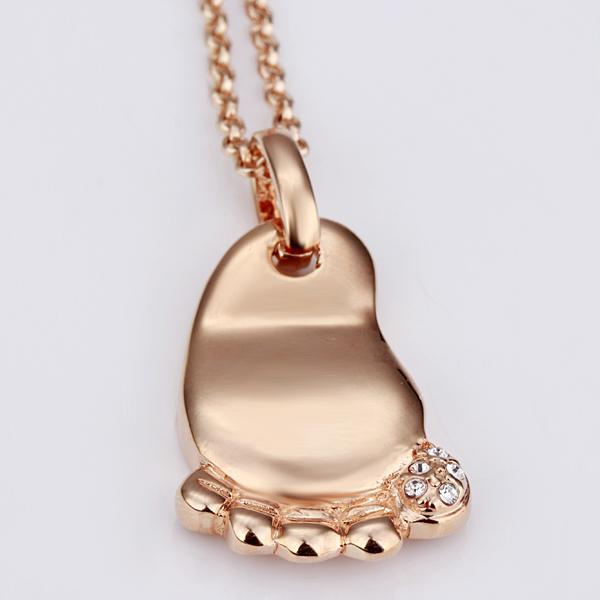 Freies Verschiffen 18K GP vergoldet Schmucksachehalskette feiner Fußrhinestonekristallnickel geben hängende Halskette TPN072 frei