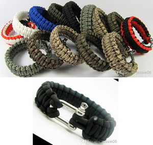 Wholesale Survival Bracelets Paracord Parachute Hiking Bracelet Stainless Steel U Clasp Unisex Escape Bracelet Handmade wristband Outdoor Gadgets Gear