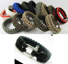 Bracelets paracord en Ligne-Bracelets de survie Paracord Parachute Randonnée Bracelet en acier inoxydable U Fermoir Bracelet unisexe Escape Bracelet fait main Gadgets en plein air Gear