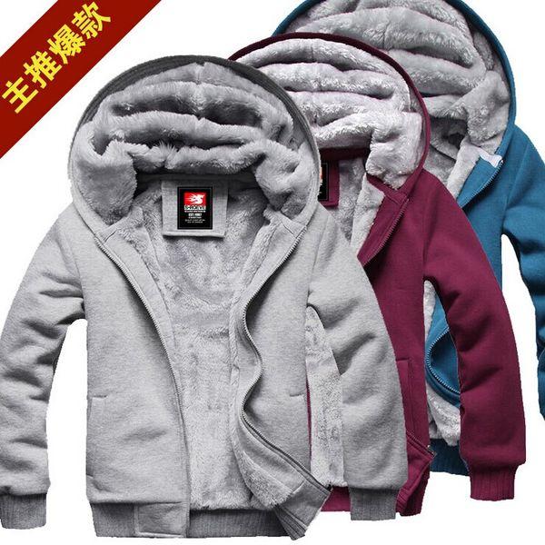 Werbe 2014 neue Männer Plüsch dicke warme Mantel Wintermantel Fleece Baumwolle gefütterte Jacke Männer Jacken M-XXXL YLT080