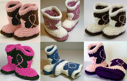 Wholesale Wholesale Babies Cowboy Boots - 6%off,Cowgirl baby shoes Crochet purple and pale pink cowboy boots, a variety of colors !100% Cotton ,wholesale shoes ,5pairs 10pcs