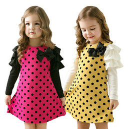 Wholesale Dress Polka Dot Pink Girls - new autumn spring children clothing girls polka dot dress long-sleeve baby kids clothes girls princess dress