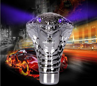 Wholesale Car Gear Stick Knobs - Manual Transmission Silver Cobra gear stick lever Shift Knob for Sport Racing Car auto with Blue LED Eyes Snake Shifter