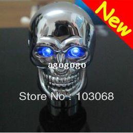Wholesale Woods Motors - Blue LED Chrome Skull Universal Car Truck Motor Manual Gear Shift Knob Rod New