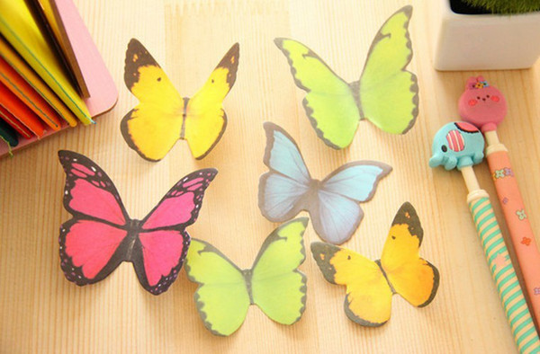 top popular Free Shipping Butterfly Stickers note sticky notes  paper diary Index Label   Gift   wholesale 2020