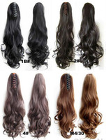 Wholesale Long Wavy Clip Extensions - Easy Clip in Ponytail Hair Piece Hair Extension Synthetic Long Curly Wavy hair ponytails hairpieces 22 Inch 120g 16 COLORS