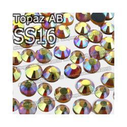 SS16 3.8-4mm,1440pcs/Bag Topaz AB DMC HotFix FlatBack Rhinestones,machine cut iron-on garment crystal stone parts