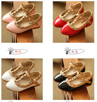Wholesale Korean Shoes Pink - Wholesale-Trendy Girl Sandals Girls Fashion PU Valen Shoes Children Rivets Flats Hot Sale Korean Style 5pairs=10 pieces l