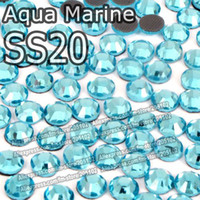 Wholesale SS20 mm Bag Aqua Marine DMC HotFix FlatBack Rhinestones machine cut iron on garment crystal stones gliters