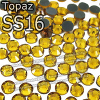 Wholesale SS16 mm Bag Topaz DMC HotFix FlatBack loose Rhinestones DIY Hot Fix iron on garment yellow crystal gem stone