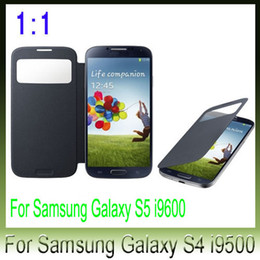 Wholesale Galaxy S4 Crystal Flip - 5pcs Flip leather case Official smart wake sleep cover with crystal protector film for samsung galaxy s4 i9500 S4 mini