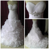 Wholesale Red Rosette Dress - Real Image Sexy Sweetheart Rosette Organza Bridal Chapel Train Princess 2012 Mermaid Wedding Dresses