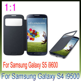 Wholesale S4 Case Sleep - Cheap Flip Cover leather case Open Window sleep wake front view for samsung galaxy s4 i9500 S4 mini S5 I9600 25pcs
