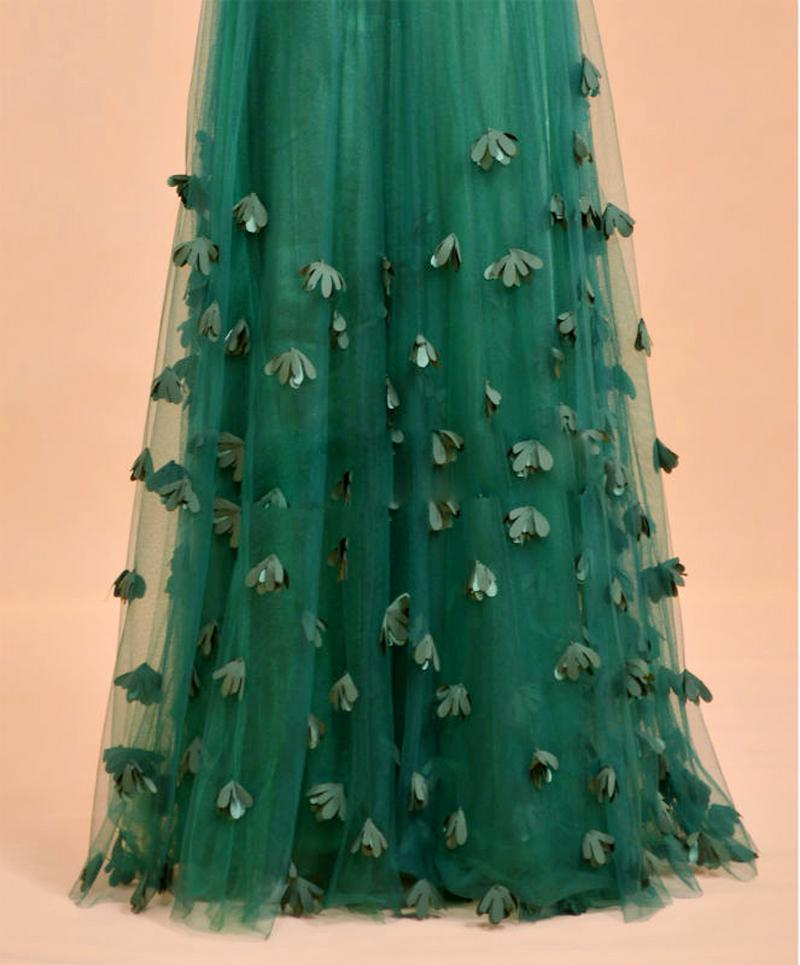 Hot Modest Boat Neck Forest Green Prom Dresses 2015 Beaded Pleated ...