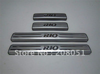 Wholesale Door Sill Kia - free shipping! KIA RIO stainless steel door sill plate door entry guard door sill protector 4pcs