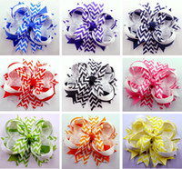 "Wholesale Mixed Grosgrain Ribbon Printed - 20pcs 4.5"" Chevron Hair Bow clip spike Girls Baby Hairbows Headwear Headdress Grosgrain Ribbon Mixed 10 Colors Hair Accessories"
