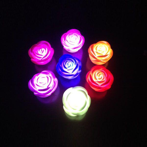 / 변경 가능한 색상 LED 장미 꽃 촛불 무연 flameless 장미 소매 상자와 램프 무료 배터리 사랑