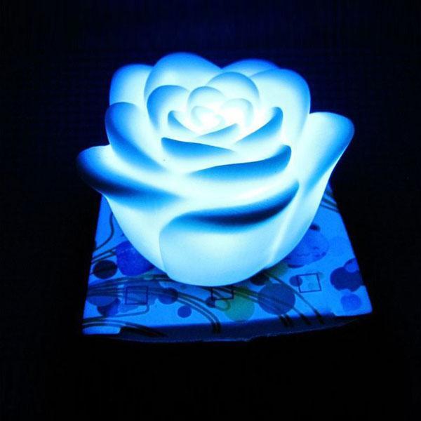 / تغيير لون الصمام روز زهرة شمعة أضواء دخاني الورود عديمة اللهب الحب مصباح بطارية مجانية مع مربع البيع بالتجزئة