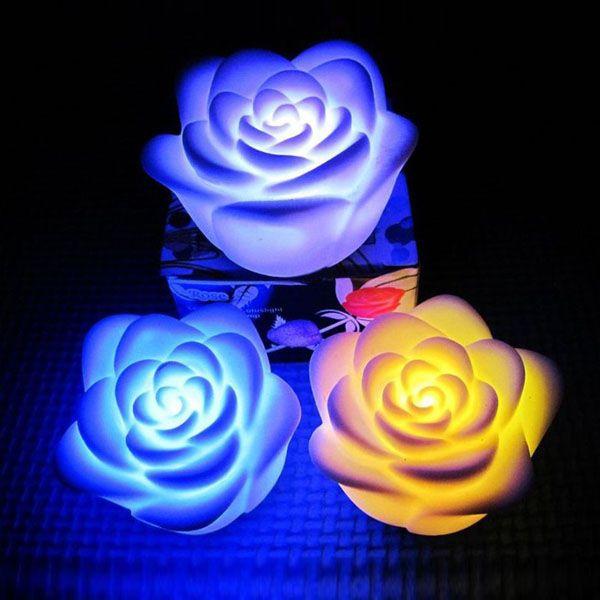 200PCS / LOT تغيير لون الصمام روز زهرة شمعة أضواء دخاني الورود عديمة اللهب الحب مصباح بطارية مجانية مع مربع البيع بالتجزئة
