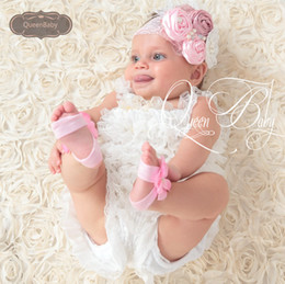 Wholesale Rosette Headband Feather - Pink With Dusty Pink Triple Satin Rosette Matching Sparkling Pearl Feather Lace Headband Luxe Headband 10pcs lot