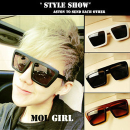 Wholesale Thick Framed Glasses Fashion - Wholesale-Classic black square hot-selling thick-framed fashion vintage sunglasses male sunglasses women's sun glasses