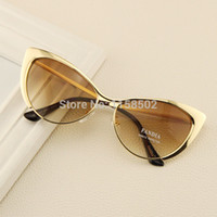 Wholesale Super Sunglasses High Fashion - New Fashion Metal Super Cute Cat eyes Women Sunglasses Designer High Quality Vintage Retro Glasses Gafas oculos De Sol feminino