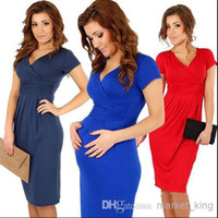 Wholesale Spandex Shorts For Women - plus size women clothing bodycon Slim package hip sexy V-neck stretch dresses party dress fashion dresses also best for pregnant women party