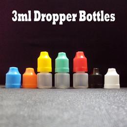 Botella vacía ce4 online-Botellas de e-líquido LDPE 3 ml Botella de plástico con gotero vacío con tapa a prueba de niños y frascos con gotero largo y fino para e-cigarrillo eGo ce4 2500 piezas