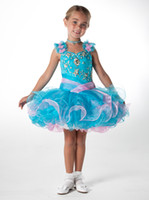 Wholesale Cupcake Style Pageant Dresses Girls - 2014 New Style Cute Little Girls Cupcake Pageant Beaded Organza mini Flower Girl Dresses Lovely Ritz