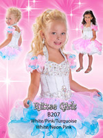 Wholesale Turquoise Ritzee Girls - White Pink Turquoise Organza Ritzee Pageant Dress Ruffled Beaded Cupcake Girls Pageant Dress