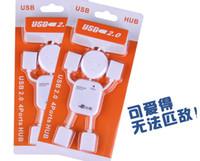 Wholesale Usb Robot Hub - White color USB HUB splitter humanoid villain delayed four expansion port hub Robot USB 2.0 USB Hub Splitter Adapter