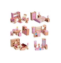 Wholesale Wooden Doll Kitchen - 6 set lot Hot Sale Children Gift Kids Wooden Toy Furniture Doll House Set Kitchen Dinning Room