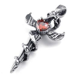 Colgante de fundición de acero online-Casting artesanal en acero inoxidable Red Zircon Snake Wing Sword Pendant 10023521