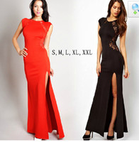 Wholesale Dresses Xx - Wholesale - free shipping women new fashion black red patchwork plus big size full lace dress summer autumn long maxi dresses S-XX #A345