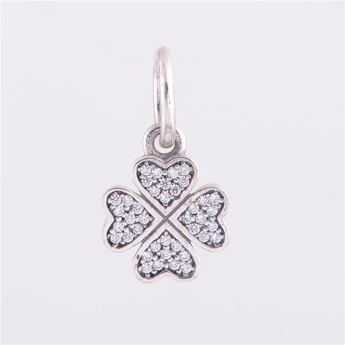 925 ALE plata esterlina pandora pulseras de perlas joyas Lucky Clover pendiente de cristal del encanto del grano, Fit DIY pulsera europea del encanto para las mujeres