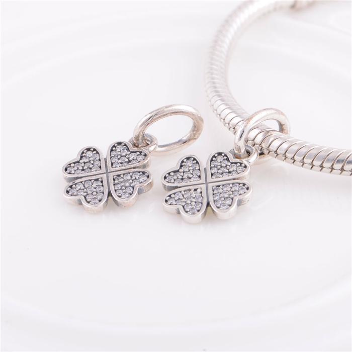 925 ALE Sterling Silber Pandora Armbänder Perlen Schmuck Lucky Clover Anhänger Kristall Perle Charme, Fit DIY europäischen Charme Armband für Frauen