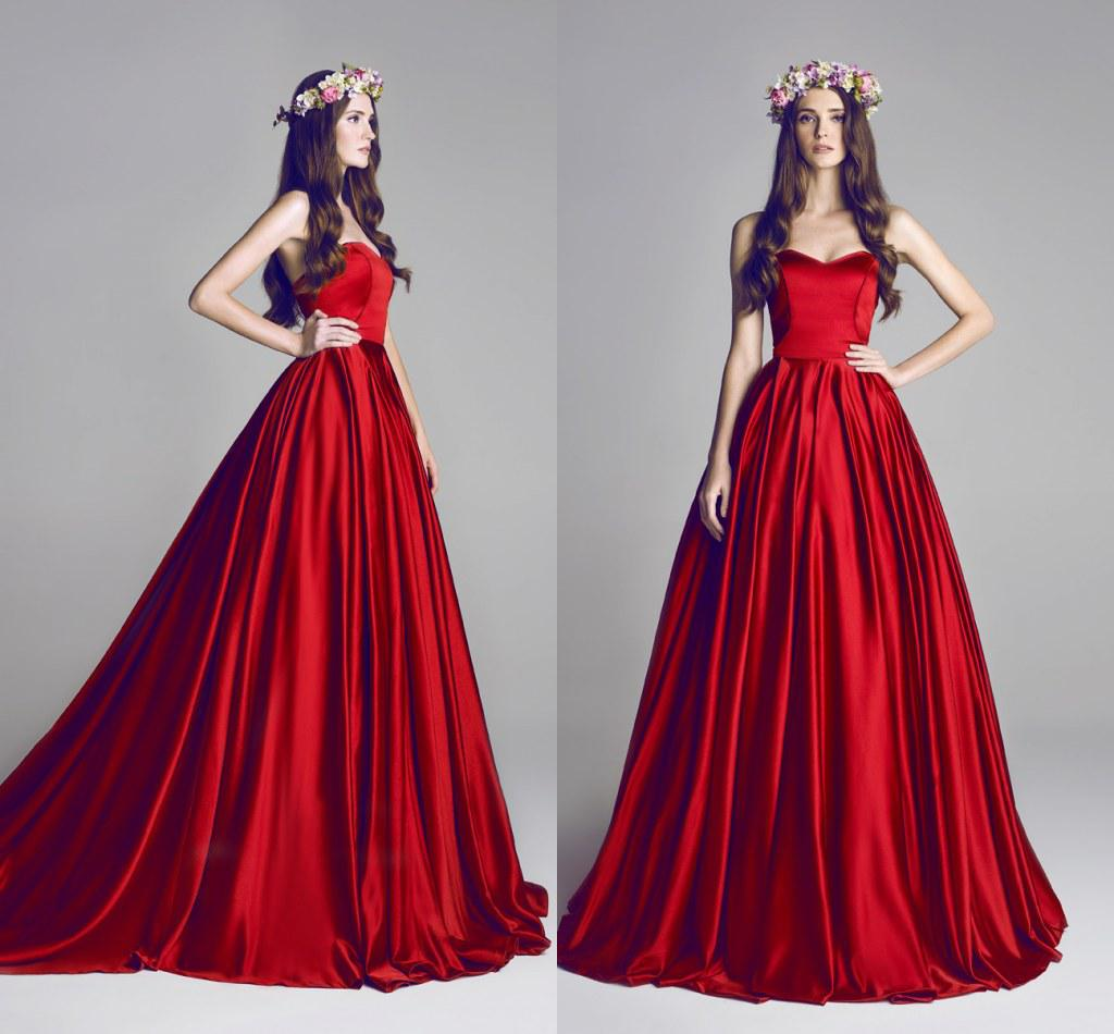 Simple Ball Gown Red Wedding Dresses For Bride With Ruffle Taffeta ...