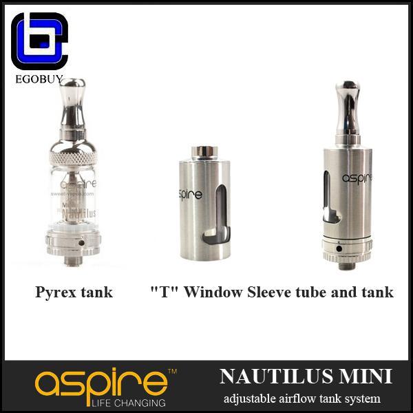 Aspire mini Nautilus assy pyrex glass tank stainless T window sleeve tube for 2.0ml aspire Nautilus mini replacement BVC coil atomizer