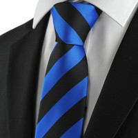 Wholesale Mens Embroidered Wedding Suits - HOT SALE Neck Ties New Striped Blue Black Mens Tie Suits Necktie Formal Wedding Holiday Gift KT1022