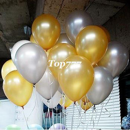 Pearl Ballons Canada - Top Quality 100pcs Pearl Helium Latex Ballons Happy Birthday Decorations,Gold Balloons,Free shipping